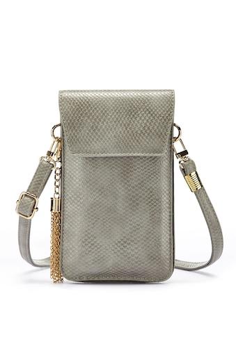 LASCANA Umhängetasche, modische Minibag, Handytasche zum Umhängen mit praktischem Sichtfenster, im Kroko Look und abnehmbarer Tassel kaufen