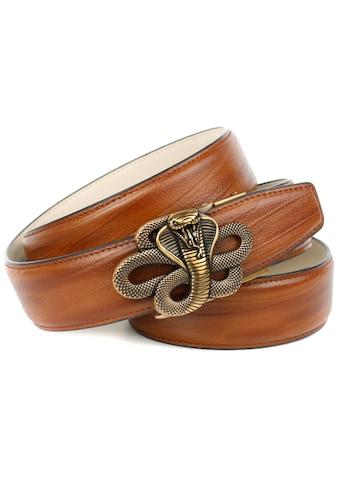 Anthoni Crown Ledergürtel, mit messingfarbener Schlangenschnalle kaufen