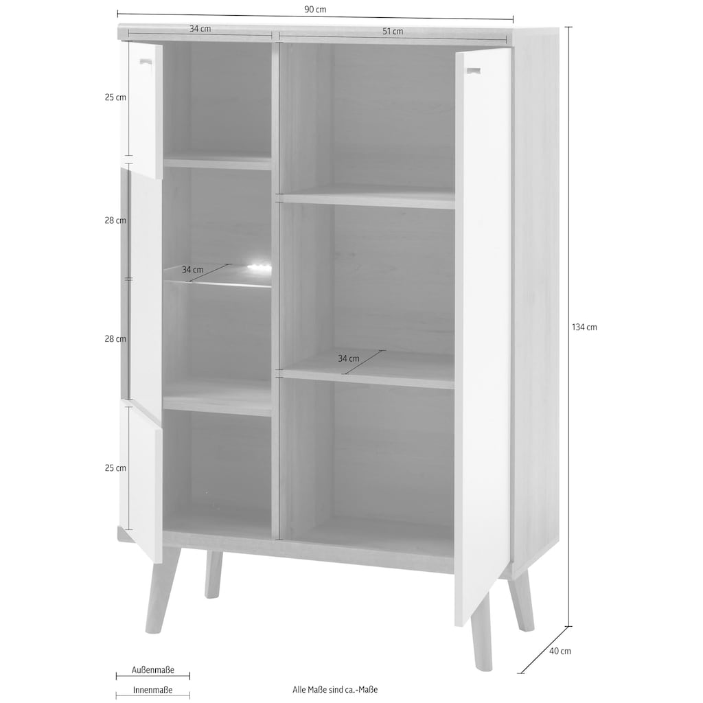 andas Vitrine »Merle«, im skandinavischen Design, Höhe 134 cm