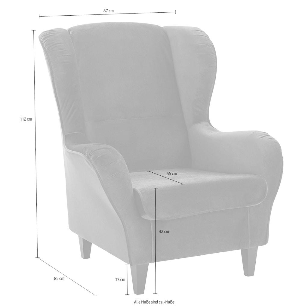 INOSIGN Sessel »Nico«, mit Bezug in Samtoptik, mit und ohne Hocker