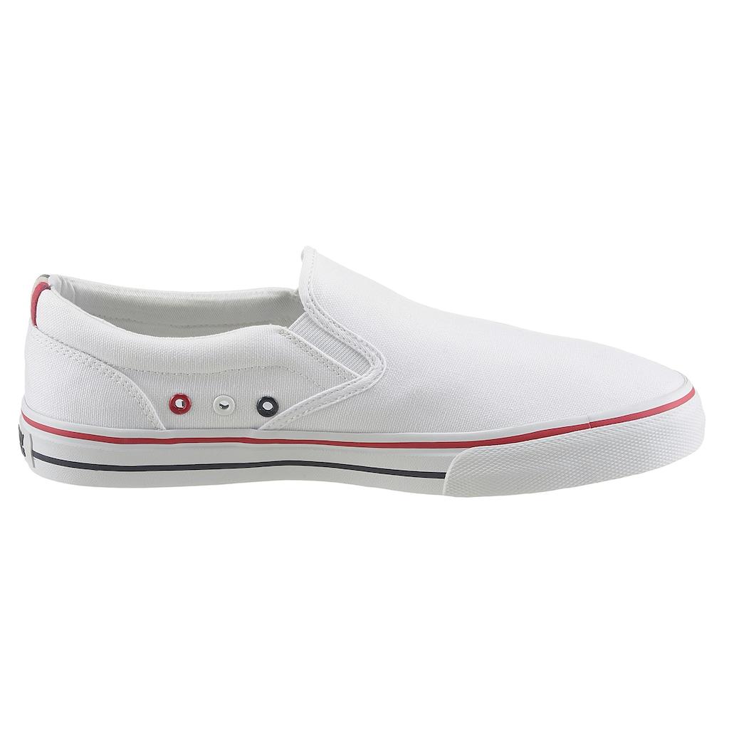 Tommy Jeans Sneaker »TOMMY JEANS TEXTILE SLIP ON«, mit seitlichen Stretcheinsätzen