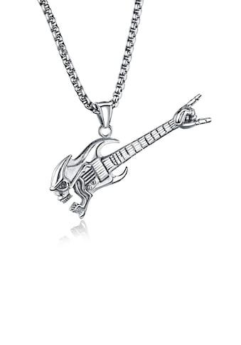 Firetti Kette mit Anhänger »Gitarre mit Totenkopf, sturkturiert, teilweise geschwärzt« kaufen