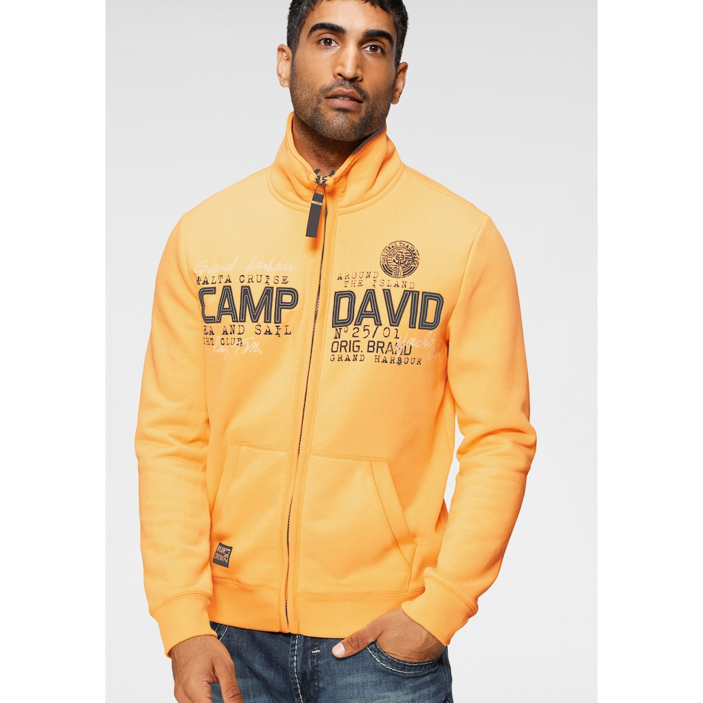 CAMP DAVID Sweatjacke, mit markanter Logo-Applikation