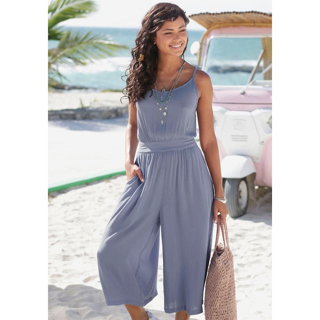 s.Oliver Beachwear Culotte-Overall, aus gecrashter Viskose