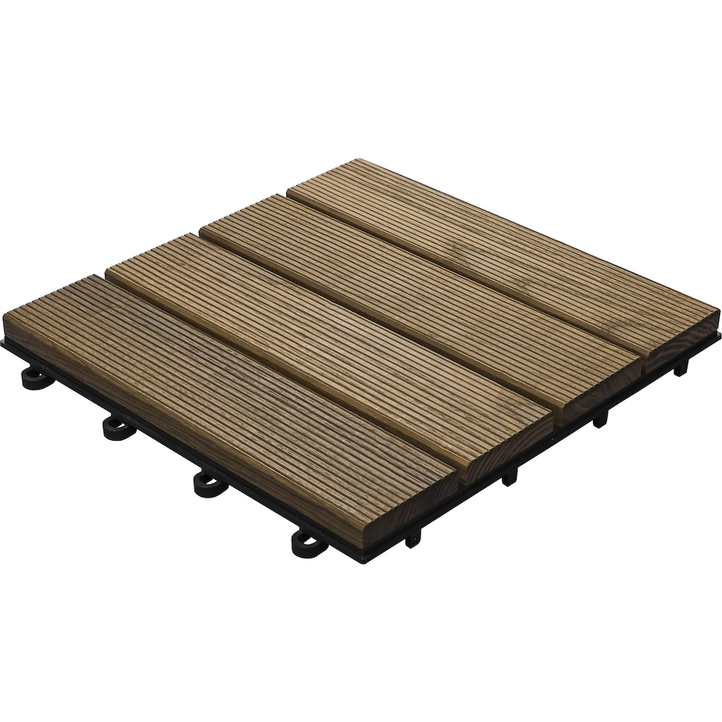 florco® Terrassenplatten »Esche, 4 Latten 30 x 30, 6 Stk.«