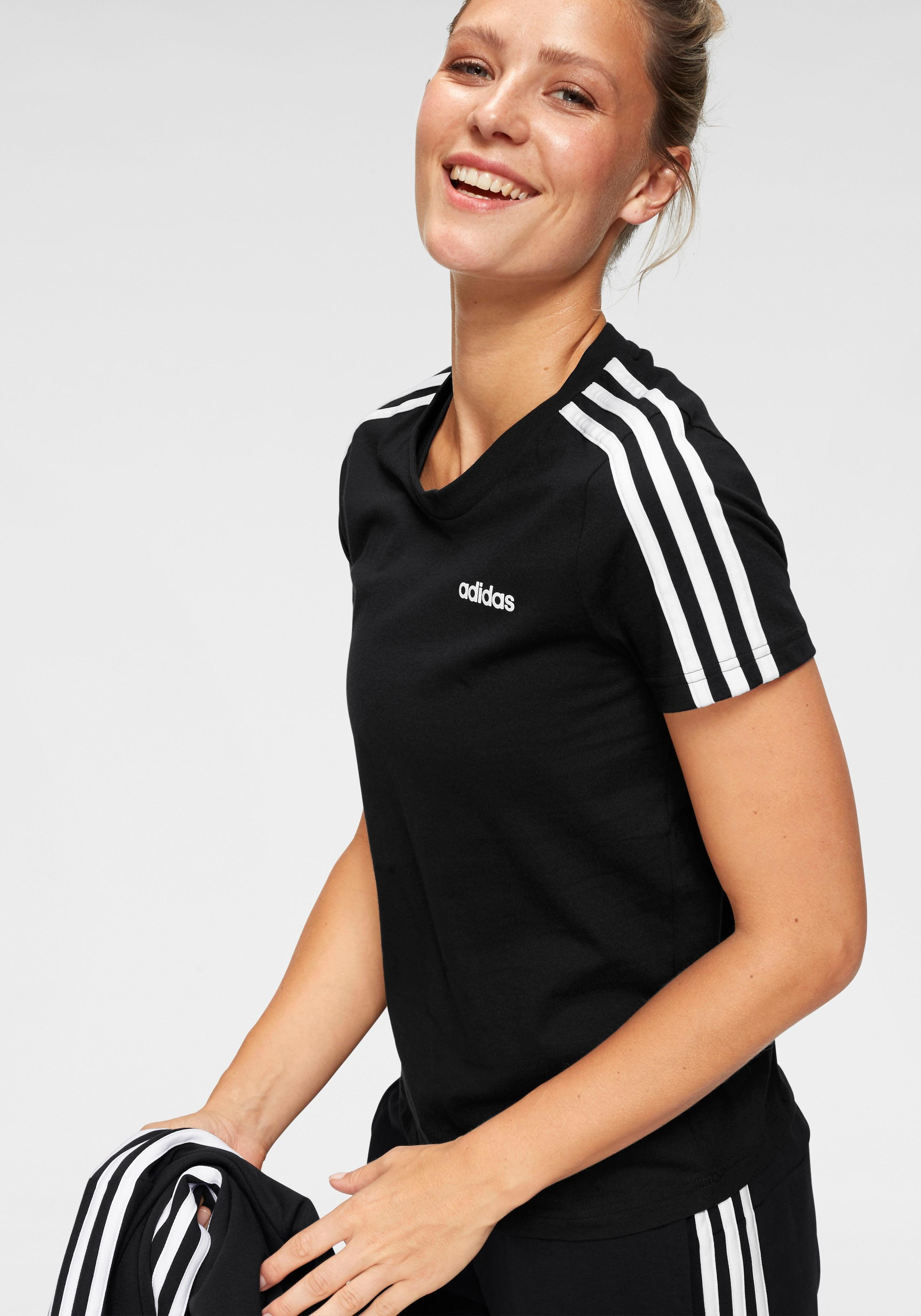 adidas T Shirt »ESSENTIALS 3 STRIPES SLIM TEE«