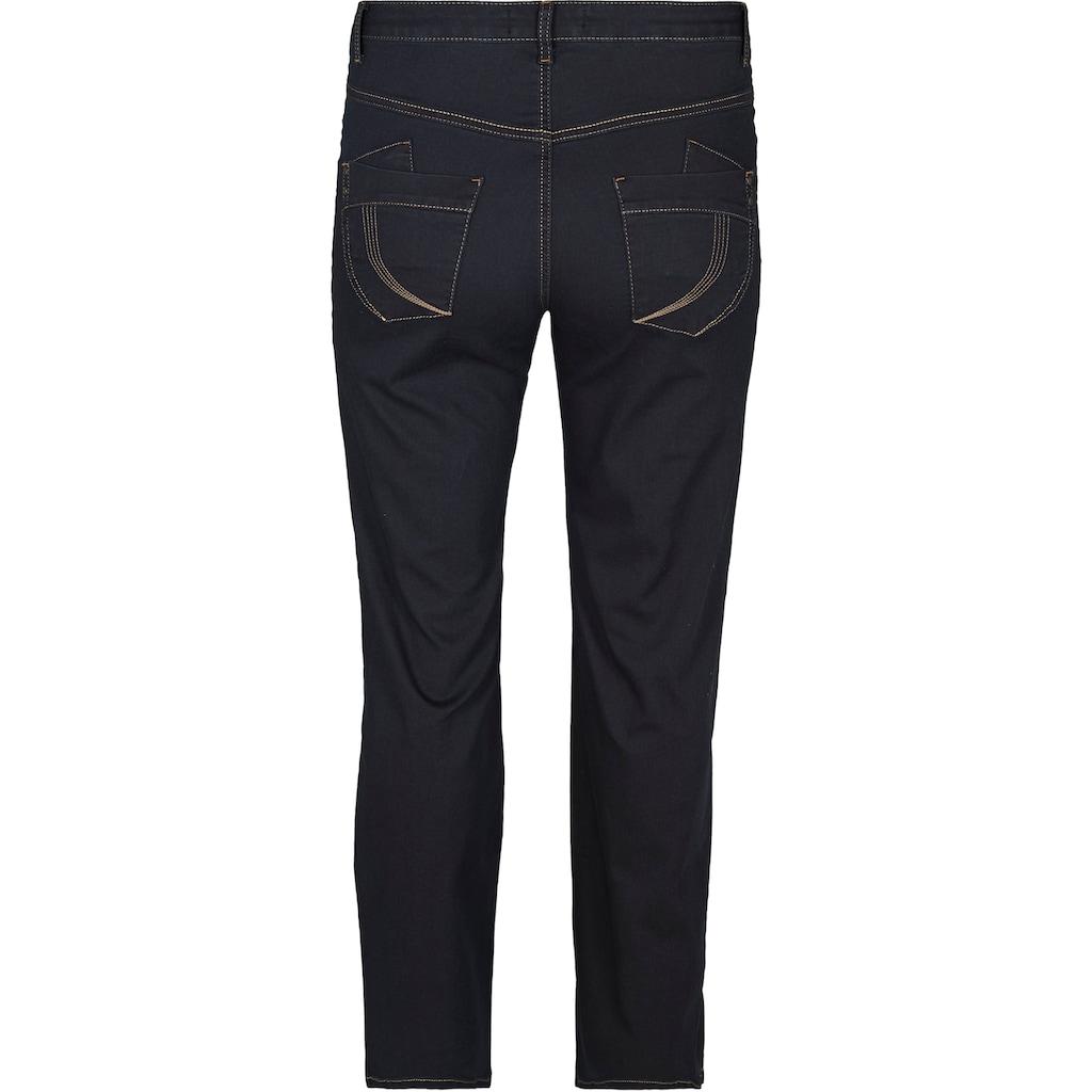 Zizzi Straight-Jeans »Gemma«, Stickerei auf den Potaschen