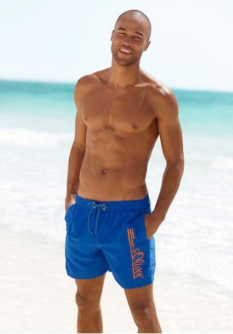 s.Oliver Beachwear Badeshorts, mit Logo-Print im Used-Look kaufen