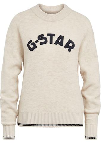 G-Star RAW Rundhalspullover »College gr r loose knit wmn«, mit grosser Logo-Applikation kaufen