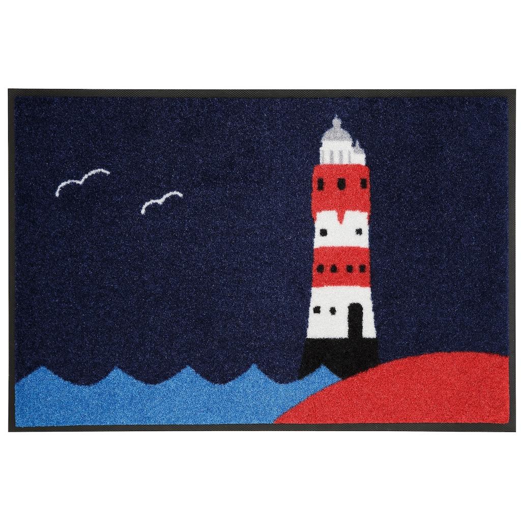 wash+dry by Kleen-Tex Fussmatte »Leuchtturm«, rechteckig, 7 mm Höhe, Schmutzfangmatte, In- und Outdoor geeignet, waschbar