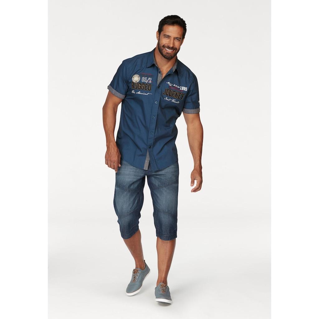 Man's World Kurzarmhemd, mit Print und Aufnähern