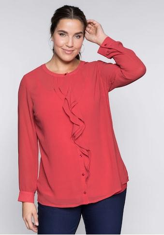 Sheego Langarmbluse, mit Rüschen in leicht transparenter Qualität kaufen