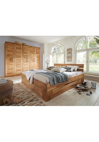 Premium collection by Home affaire Massivholzbett »Tommy«, aus massiver Wildeiche, in unterschiedlichen Breiten, Balkenbett, Futonbett kaufen