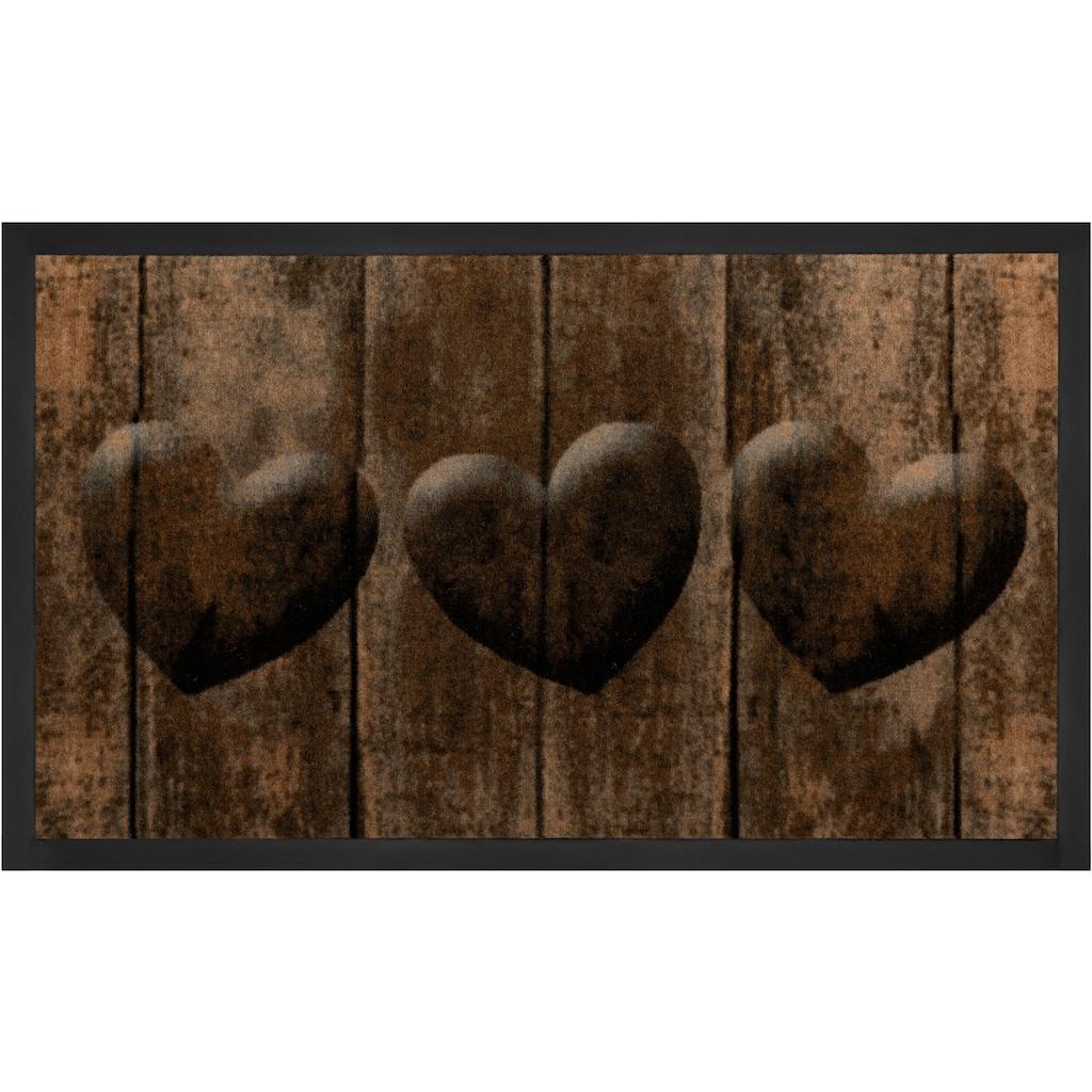 HANSE Home Fussmatte »3 Hearts«, rechteckig, 5 mm Höhe, Schmutzfangmatte, In- und Outdoor geeignet, waschbar