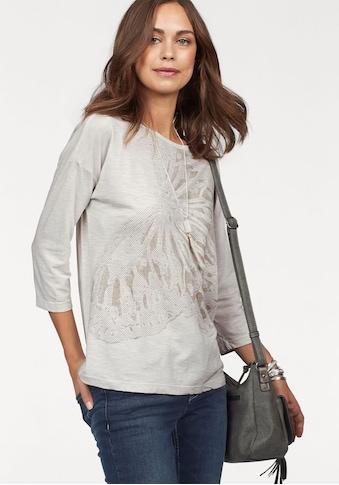 Olsen Rundhalsshirt, mit grossem Schmetterlingsdruck und funkelnden Nieten kaufen