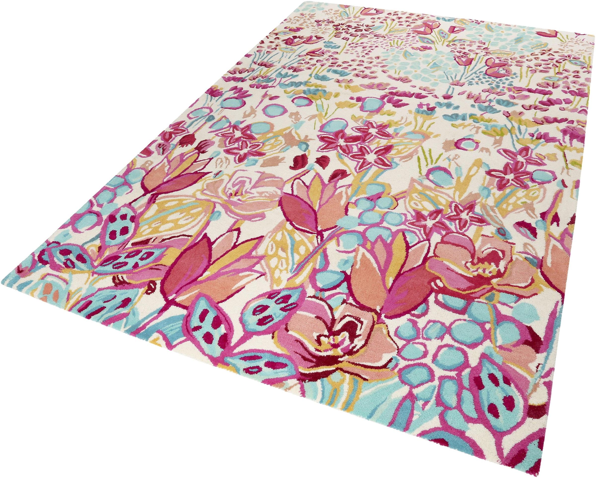 Image of Accessorize Home Wollteppich »Splash Bouquet«, rechteckig, 16 mm Höhe, reine Wolle, kräftige Farben, Wohnzimmer