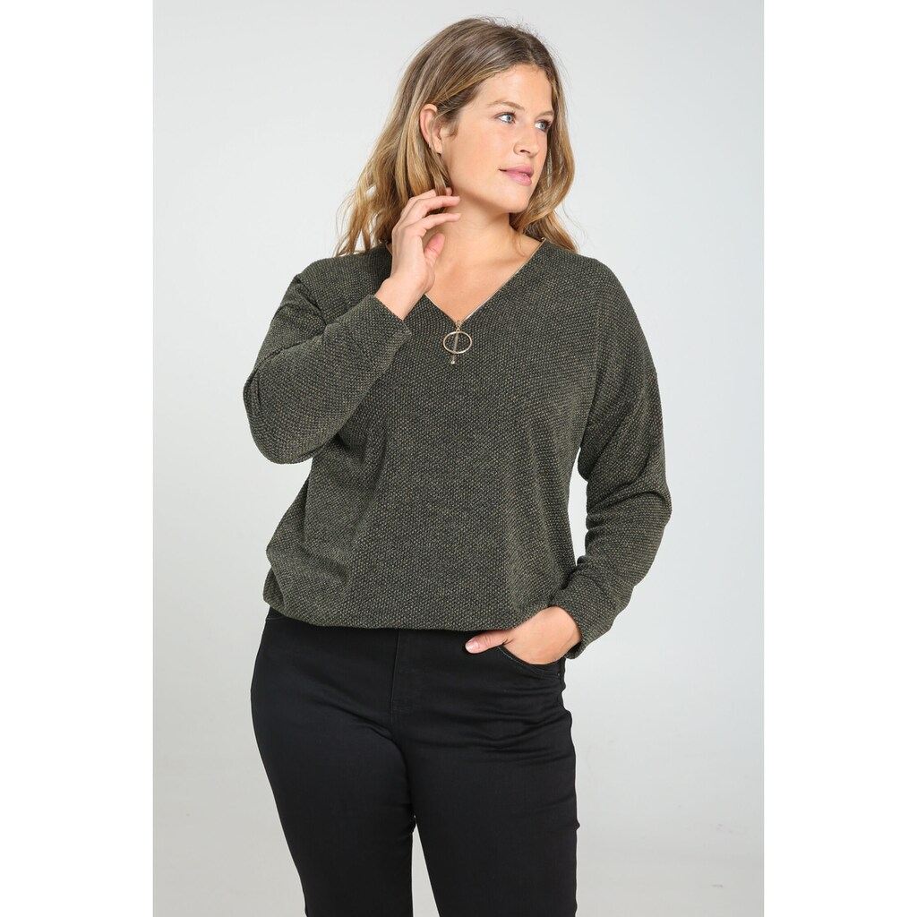 Paprika Langarmshirt »bunt bedruckt«, aus warmen Material