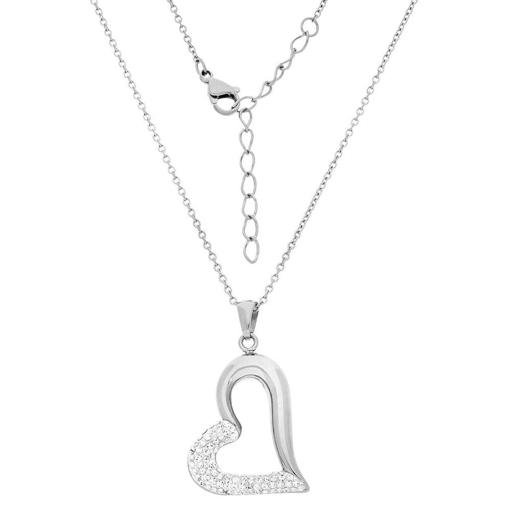 Firetti Herzkette »funkelndes Herz in asymmetrischer Form«, mit Kristallsteinen