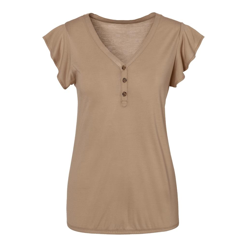 LASCANA Shirttop, (2er-Pack), mit Flügelärmelchen