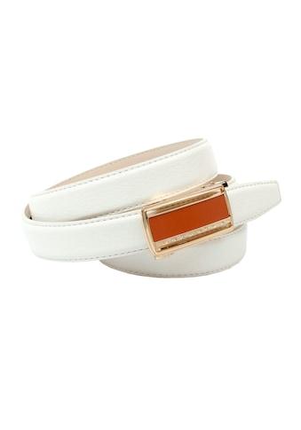 Anthoni Crown Ledergürtel, Damengürtel mit Glas-Schliesse in orange kaufen