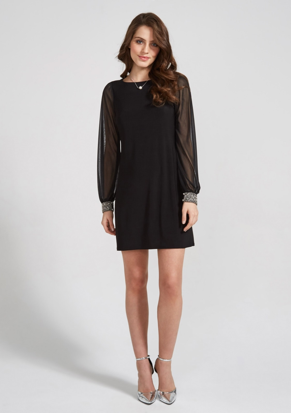 Image of Apricot Partykleid »Sheer Sleeve Beaded Cuff Dress«