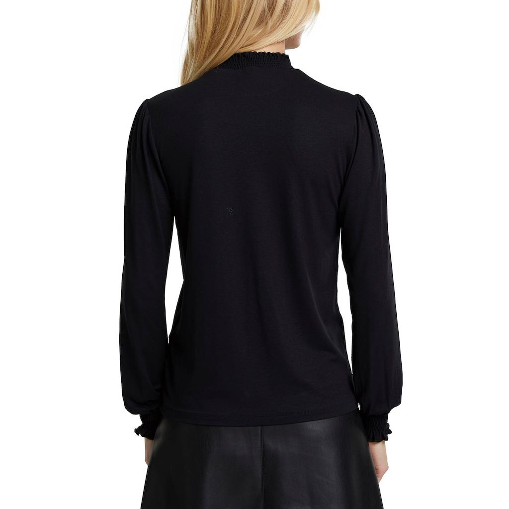 Esprit Langarmshirt, mit gesmoktem Stehkragen