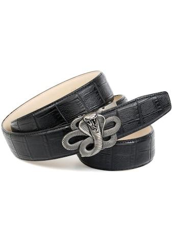 Anthoni Crown Ledergürtel, Schliesse mit Schlangen Motiv kaufen