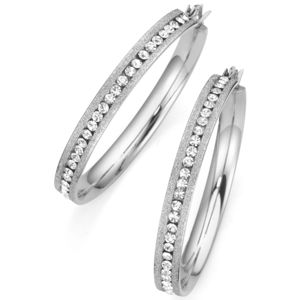 Firetti Paar Creolen »mittig angeordnete Steine«, mit Kristallsteinen