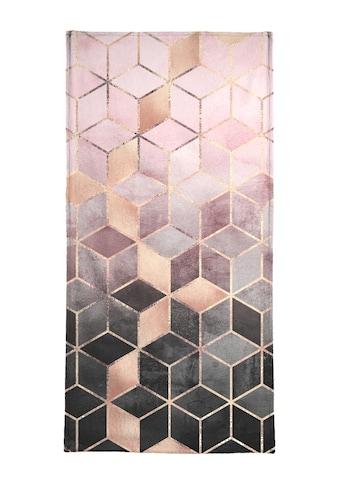 Juniqe Handtuch »Pink Grey Gradient Cubes«, (1 St.), Weiche Frottee-Veloursqualität kaufen