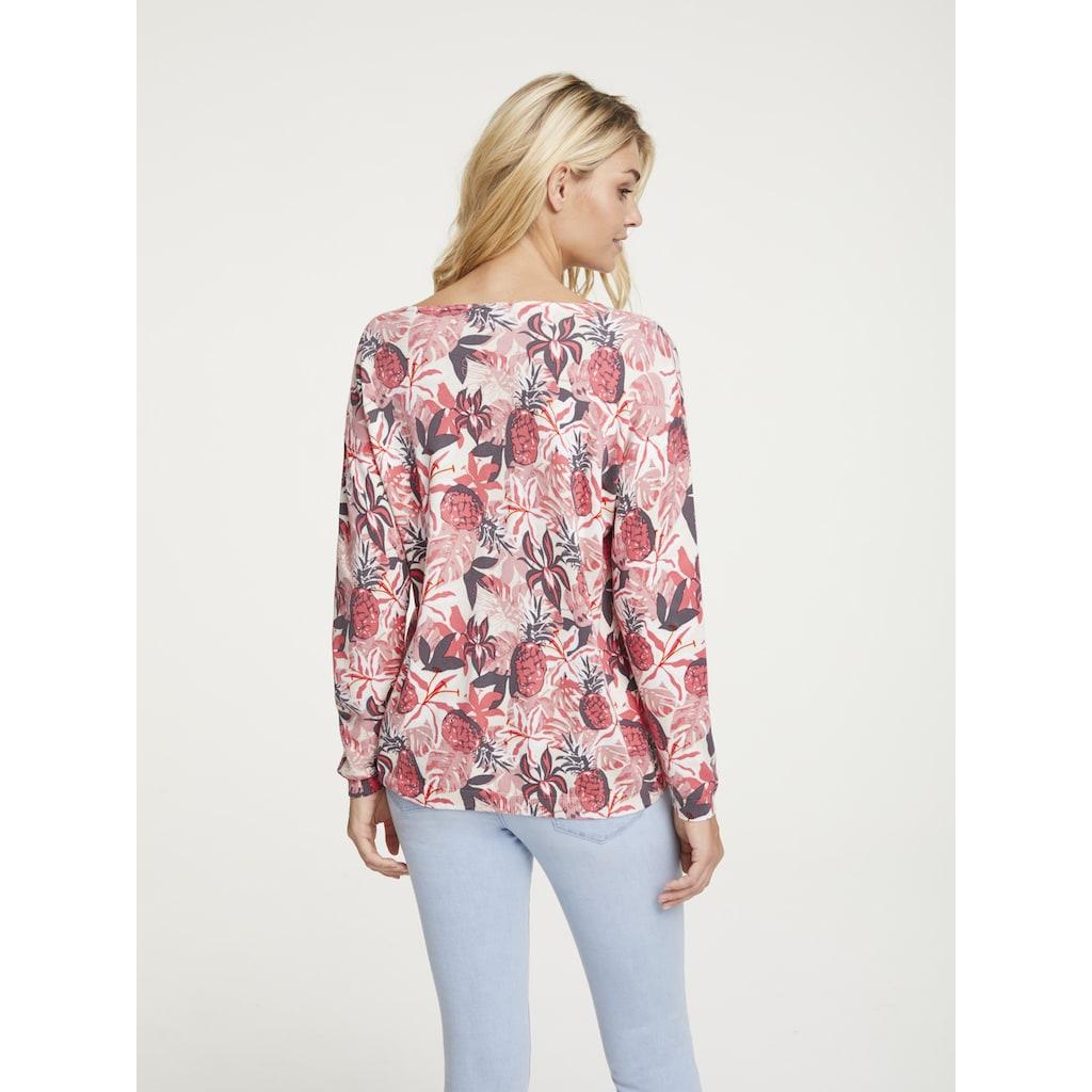 LINEA TESINI by Heine V-Ausschnitt-Pullover, mit floralem Dessin
