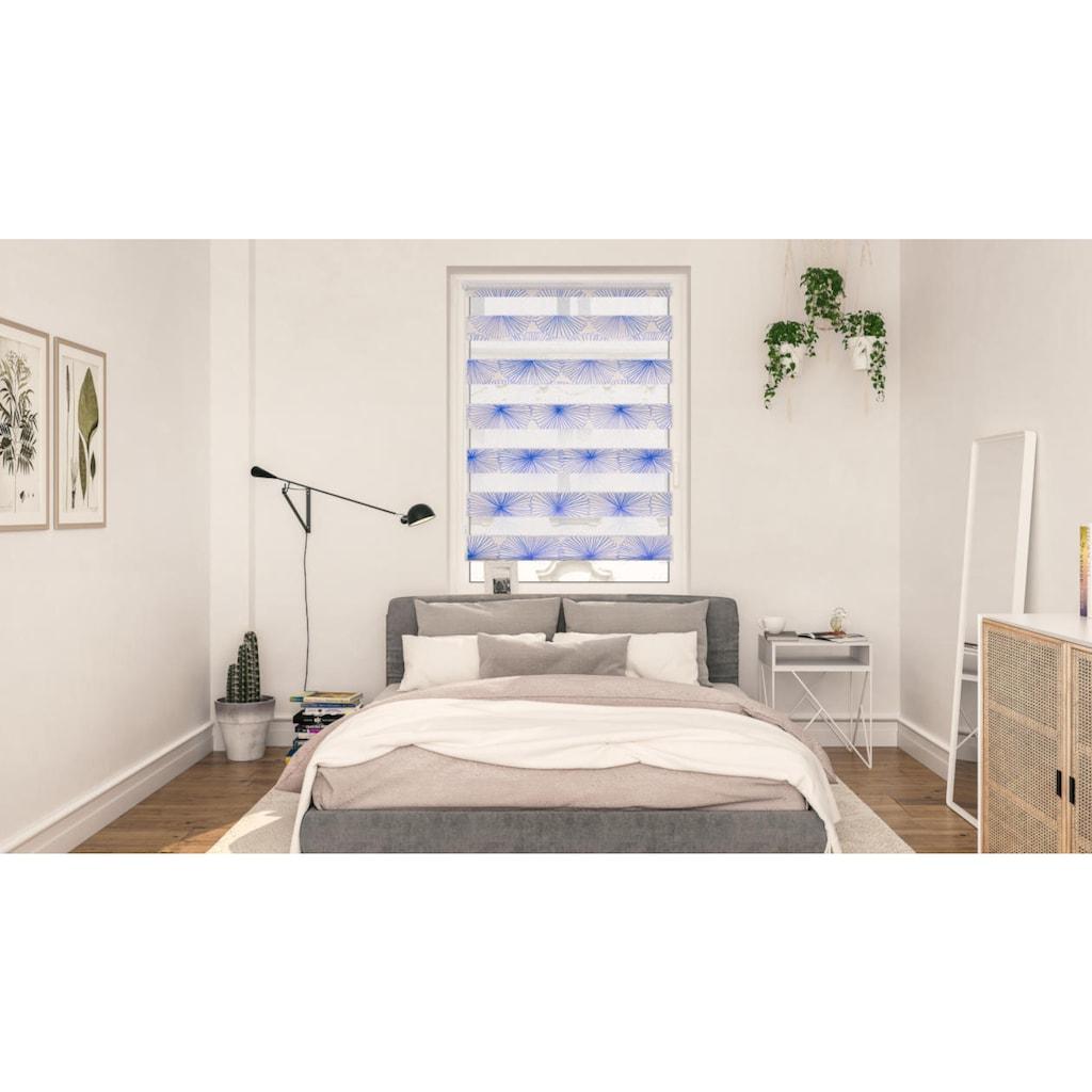 LICHTBLICK ORIGINAL Doppelrollo »Duo Rollo Klemmfix, ohne Bohren, blickdicht, Flower wheel - Gelb«, halbtransparent, freihängend