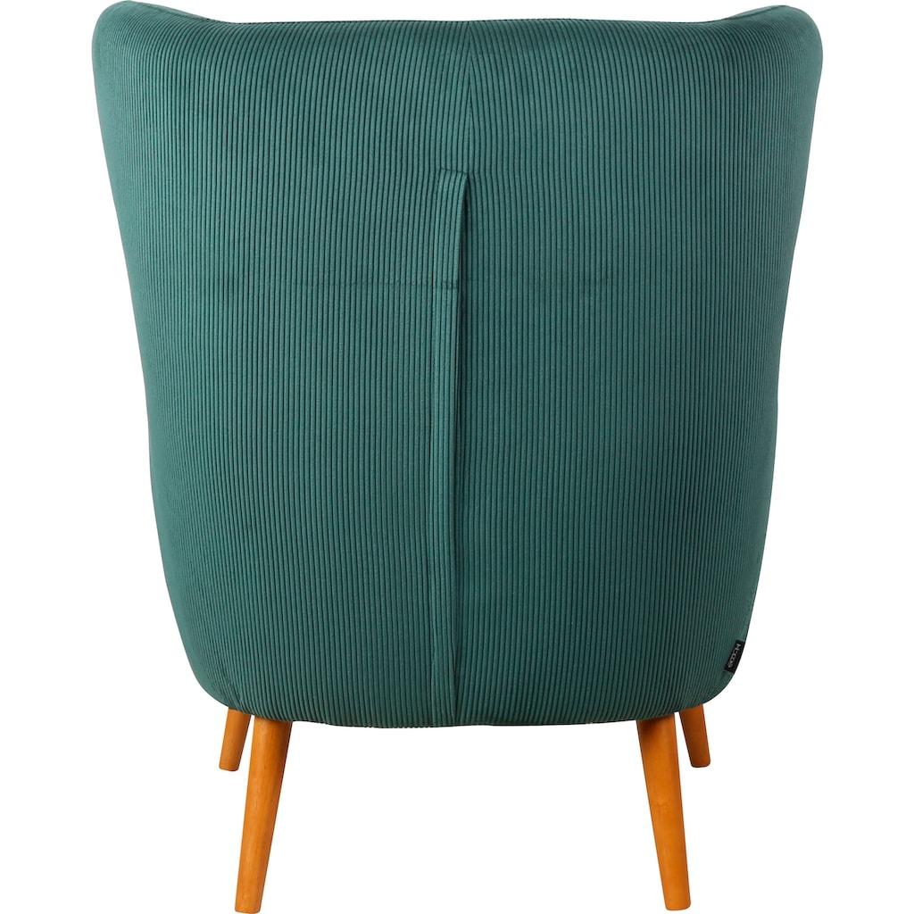 Home affaire Ohrensessel »Yamuna«, mit toller Sitzpolsterung, Gestell und Füsse aus Massivholz, Sitzhöhe 57 cm