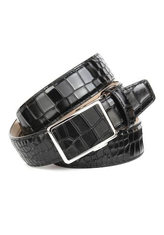 Anthoni Crown Ledergürtel, mit Krokomuster in schwarz kaufen