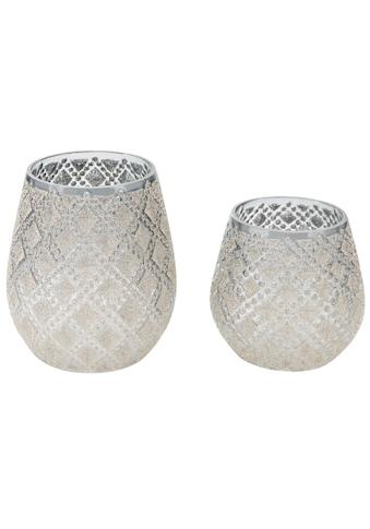 Windlicht, mit Perlen, Höhe 11 und 13 cm kaufen