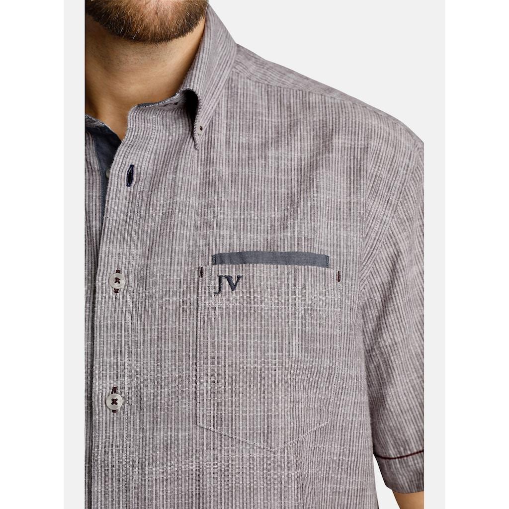 Jan Vanderstorm Kurzarmhemd »MILOS«, Trendfarbe in Leinenoptik