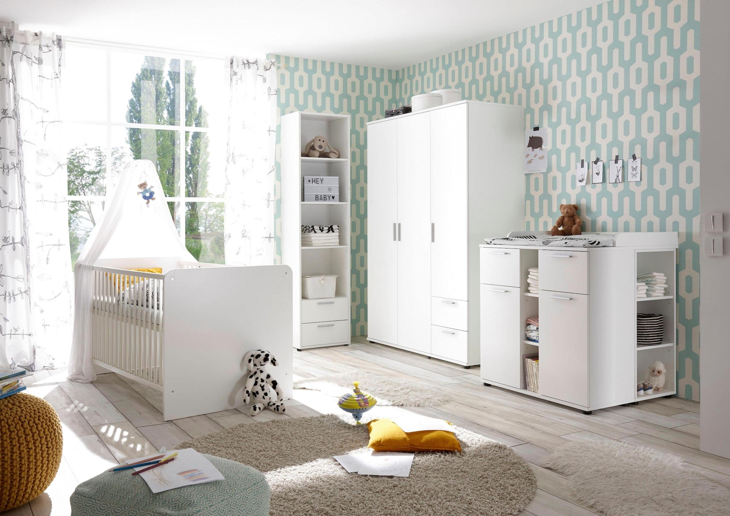 Image of Begabino Babyzimmer-Komplettset »Bibo«, (Set, 3 St.), Bett + Wickelkommode + 3-trg. Schrank