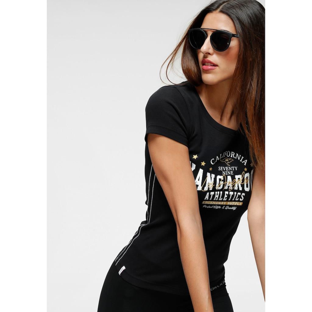 KangaROOS T-Shirt, mit goldfarbengfarbenem Glitzerdruck