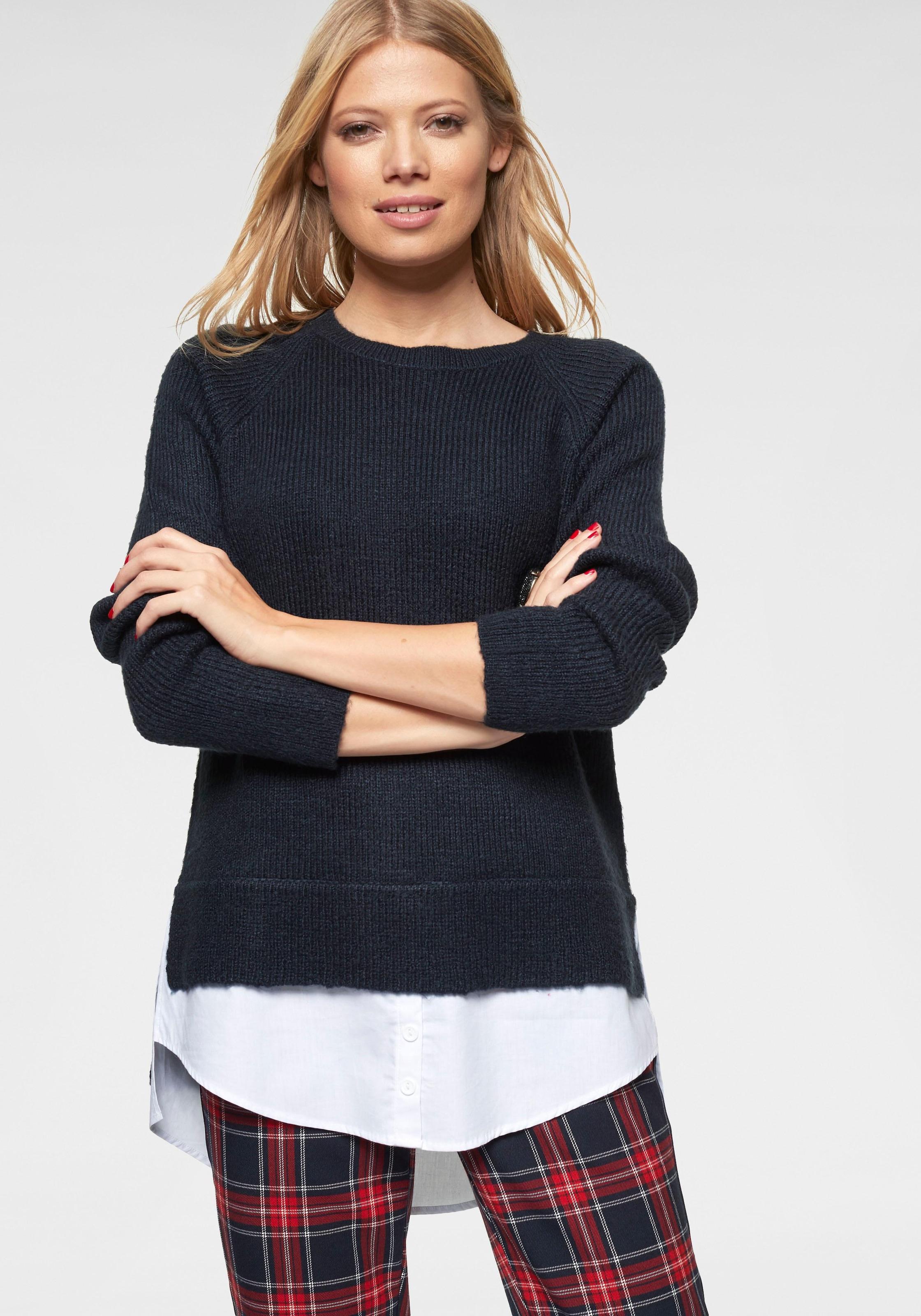Image of Aniston CASUAL 2-in-1-Pullover, mit Blusenansatz am Saum