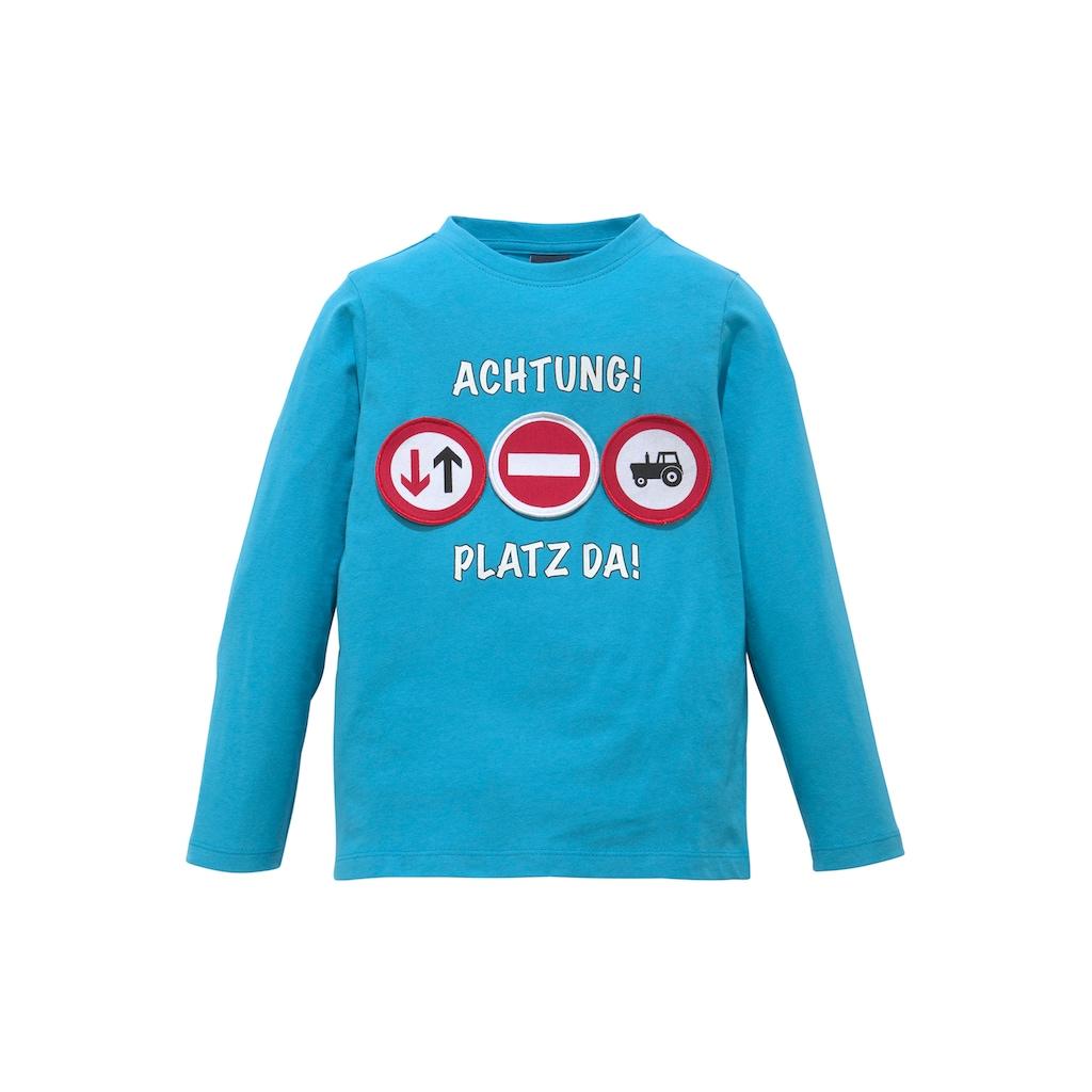 Arizona Langarmshirt »ACHTUNG! PLATZ DA!«, mit beweglichen Applikationen