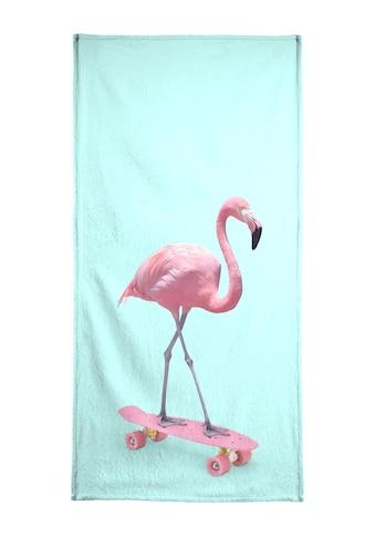 Juniqe Handtuch »Skate Flamingo«, (1 St.), Weiche Frottee-Veloursqualität kaufen