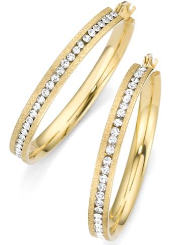 Firetti Paar Creolen »goldfarben, strukturiert«, mit Zirkonia kaufen