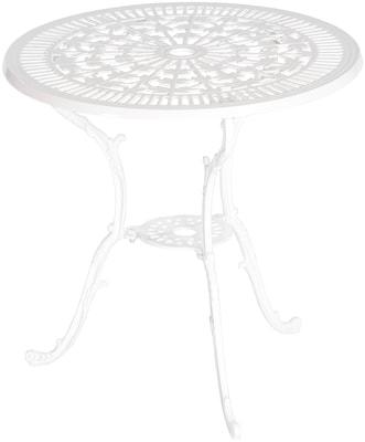 weißes romantisches Gartenmöbel-Set mit Verschnörkelungen