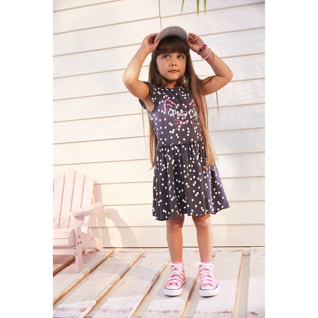 KIDSWORLD Jerseykleid, mit niedlichen Flügelärmeln