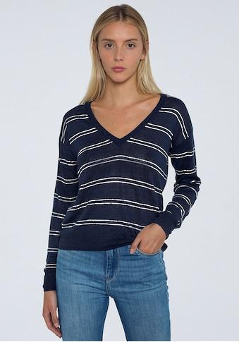 Pepe Jeans V-Ausschnitt-Pullover »ALEXANDRA«, mit tiefem V-Ausschnitt in gestreifter... kaufen