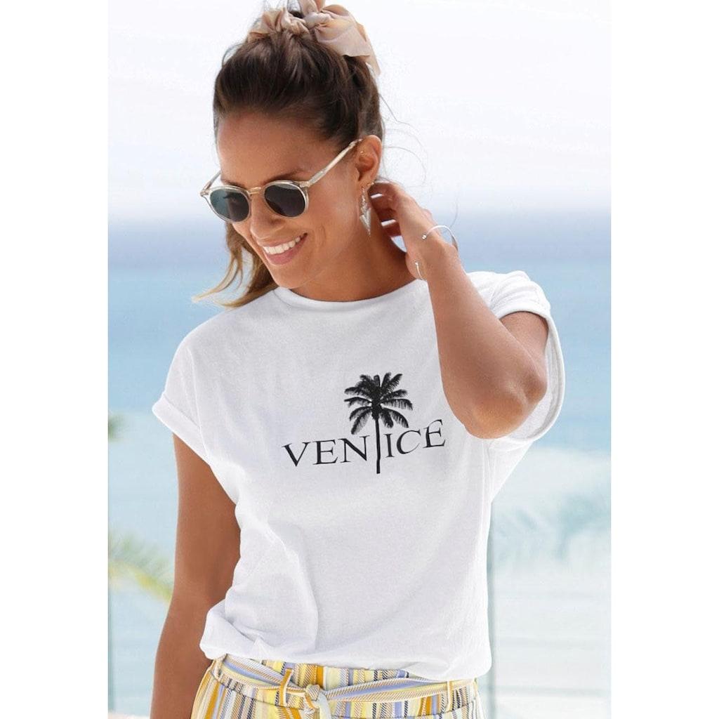 Venice Beach Rundhalsshirt, mit Frontdruck