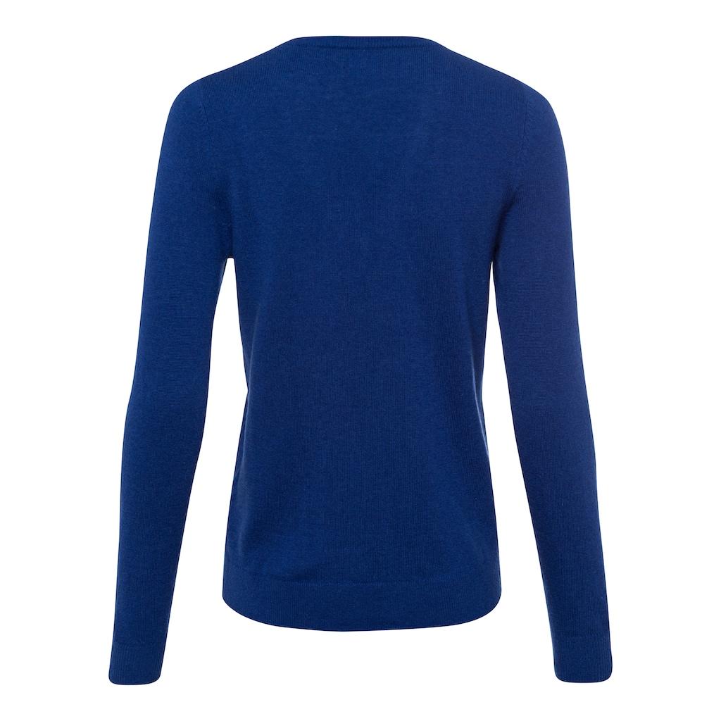 Gant V-Ausschnitt-Pullover, mit klassischer Logo Stickerei auf der Brust