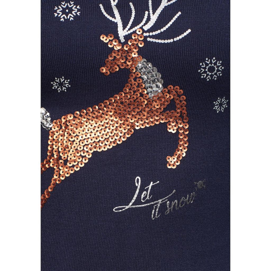 TOM TAILOR Polo Team Strickkleid, mit Weihnachts-Motiv vorne