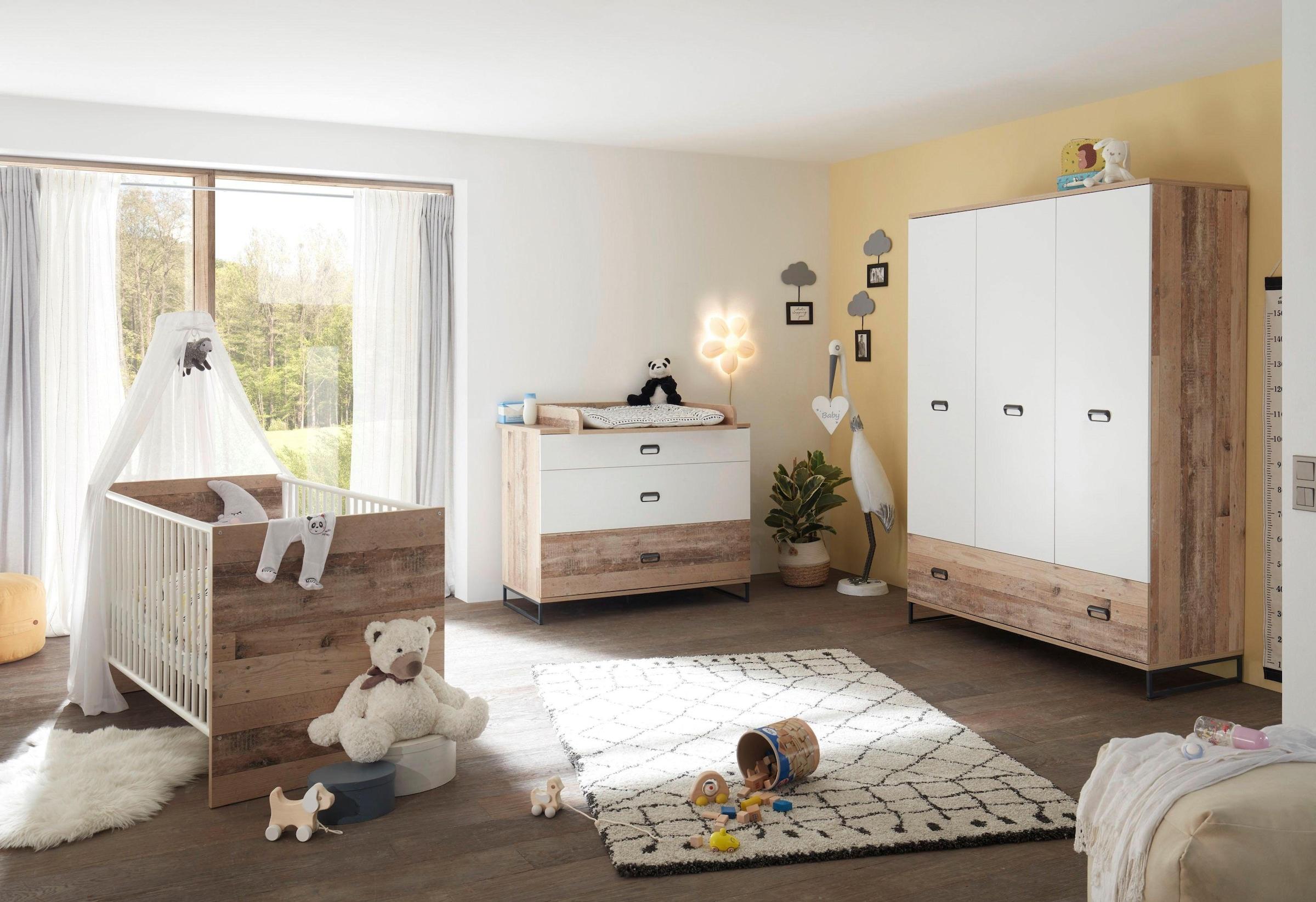 Image of Begabino Babyzimmer-Komplettset »Ronny«, (Set, 3 St.), Bett + Wickelkommode + 3-trg. Schrank