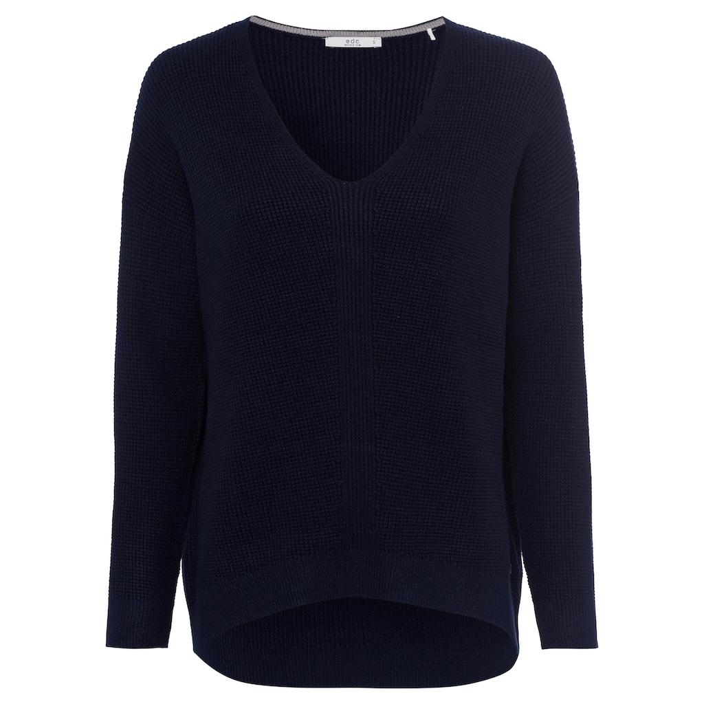 edc by Esprit V-Ausschnitt-Pullover, in gerippter Strickoptik