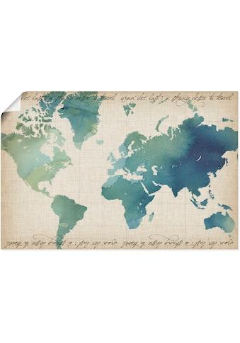 Artland Wandbild »Wasserfarben Weltkarte«, Landkarten, (1 St.), in vielen Grössen &... kaufen